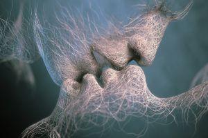 shapes cgi wood face kissing artwork render sand love anime digital art