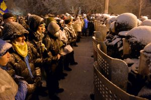 shield ukraine snow protestors soldier