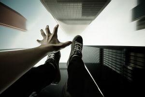 shoes falling pov digital art people hands building