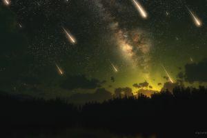 shooting stars space sky meteors stars triple screen