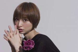 short hair brown eyes model asian face women brunette