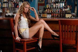 shorts blonde chair veronika fasterova bottles tattoo sitting jean shorts women