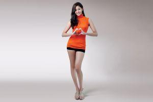 shorts women simple background asian legs korean model black hair smiling heart