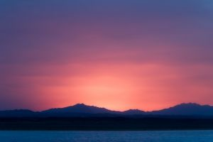 silhouette nature purple sky sunrise mountains landscape