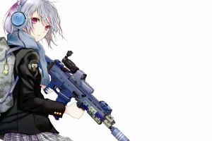 simple background backpacks suppressors gun weapon school uniform scopes jacket scarf anime girls guns girlz fuyuno haruaki headphones purple eyes military