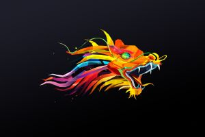 simple background black black background justin maller dragon abstract low poly colorful facets animals digital art