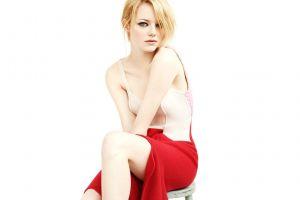 simple background blonde emma stone actress women dress white background sitting