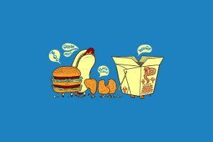 simple background blue background humor food minimalism artwork