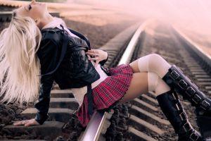 simple background boots long hair schoolgirl leather jackets miniskirt platinum blonde closed eyes railway dyed hair knee-highs women outdoors plaid skirt zettai ryouiki knee-high boots