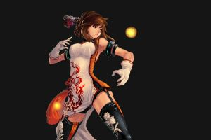 simple background brunette warrior boobs dungeon and fighter anime girls blade & soul anime gloves