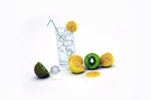 simple background drinking glass fruit white background kiwi (fruit)