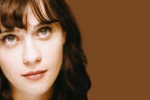 simple background face zooey deschanel brunette women actress