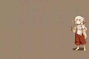 simple background fujiwara no mokou touhou brown background anime