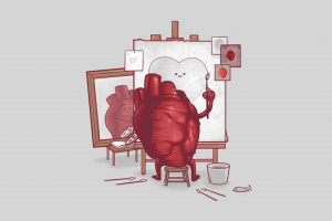 simple background heart threadless triple self portrait digital art humor artwork