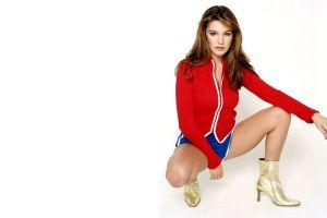 simple background kelly brook zipper kneeling women model