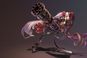simple background long hair weapon anime girls blade & soul anime