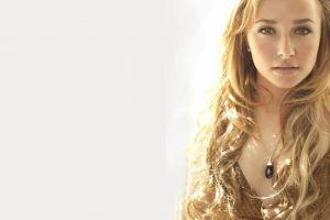 simple background looking at viewer women necklace celebrity long hair hayden panettiere