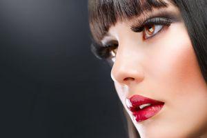 simple background red lipstick eyes model black hair makeup portrait women face