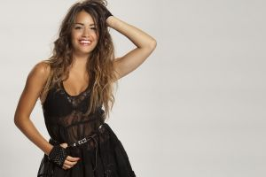 simple background smiling long hair women lali esposito