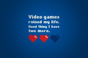 simple background typography video games artwork blue background humor text heart