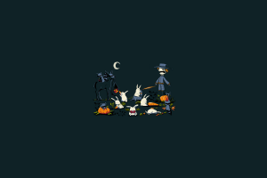 simple rabbits humor night minimalism carrots halloween dark scarecrows