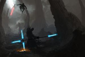 sith blue sword artwork star wars lightsaber science fiction cyan jedi red