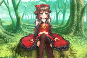 sitting anime thigh-highs forest trees brunette anime girls looking at viewer hakurei reimu touhou