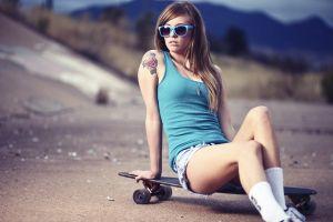 skateboard teravena sugimoto women outdoors tattoo women with shades jean shorts brunette sunglasses longboard