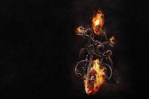 skull artwork fire motorcycle vehicle ghost rider