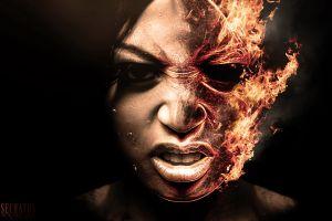 skull face women artwork digital art fire burning