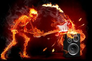 skull fire skeleton guitar music digital art