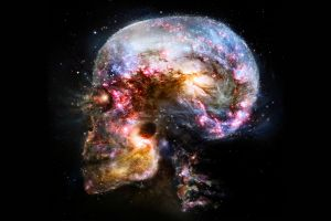 skull universe abstract space brain