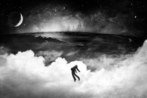 sky alex cherry monochrome stars floating grunge artwork clouds suits crescent moon moon
