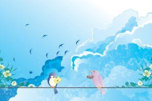 sky animals artwork swallow (bird)