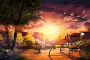 sky anime children cityscape trees