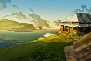 sky artwork landscape house fantasy art sea nature