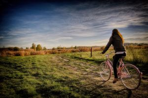 sky bicycle women outdoors landscape women outdoors