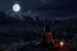 sky cgi village lantern night skull oriental tattoo moon fantasy city women fantasy art fantasy girl drawing anime