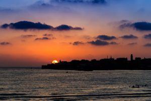 sky cityscape sunset sun