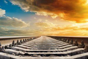sky clouds railway