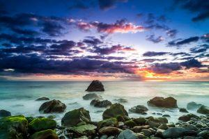 sky clouds sunset beach sunlight