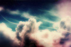 sky digital art space art stars clouds