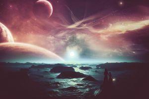 sky fantasy art artwork digital art space art planet