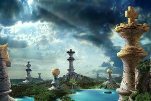 sky fantasy art landscape chess