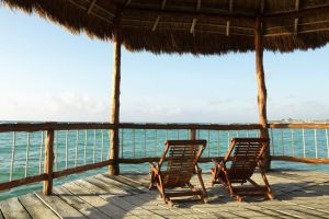 sky horizon sea wood chair
