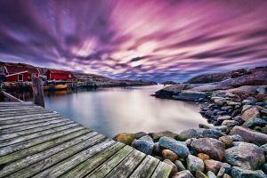 sky landscape clouds stones