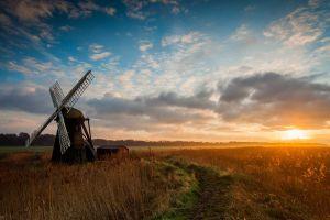 sky landscape windmill clouds sunlight sunset