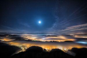 sky lights night cityscape