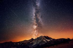 sky mountains nature stars snow milky way space art shooting stars space
