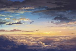 sky nature clouds anime sunlight artwork horizon